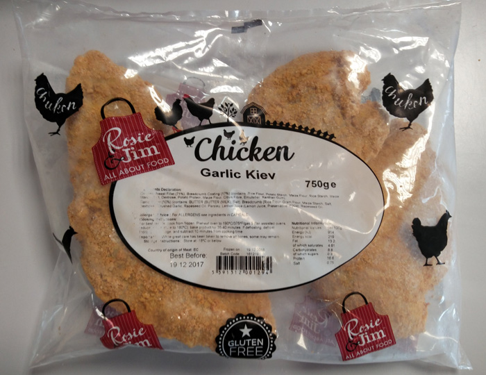 Rosie & Jim Gluten Free Garlic Chicken Kiev