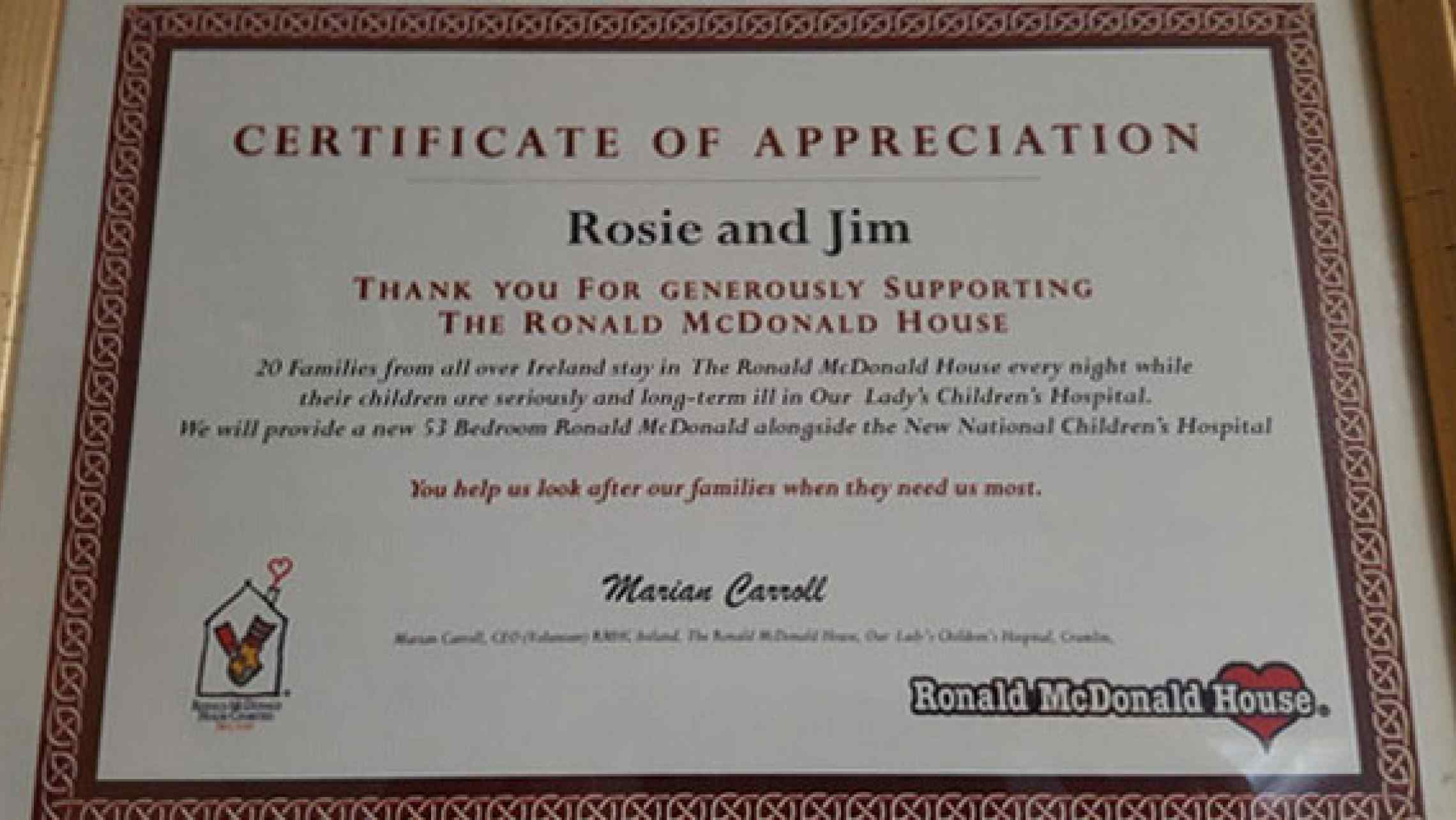 Ronald mcdonald house charities certificate of appreciation rosie ronald mcdonald house charities have awarded rosie jim with a certificate of appreciation for our chicken donations here is a photo of the award pictured yadclub Image collections