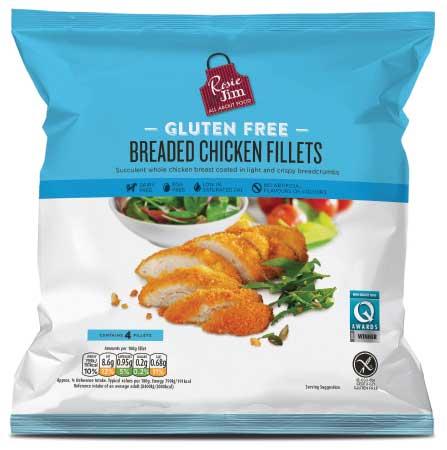 Rosie & Jim Gluten Free Breaded Chicken Fillet - Frozen Bag